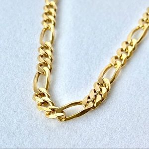 """18k Solid Yellow Gold 26"""" Figaro Chain 45 grams"""